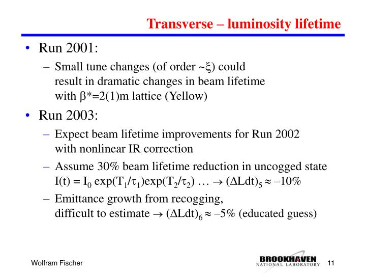 Transverse – luminosity lifetime