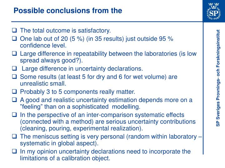 Possible conclusions from the
