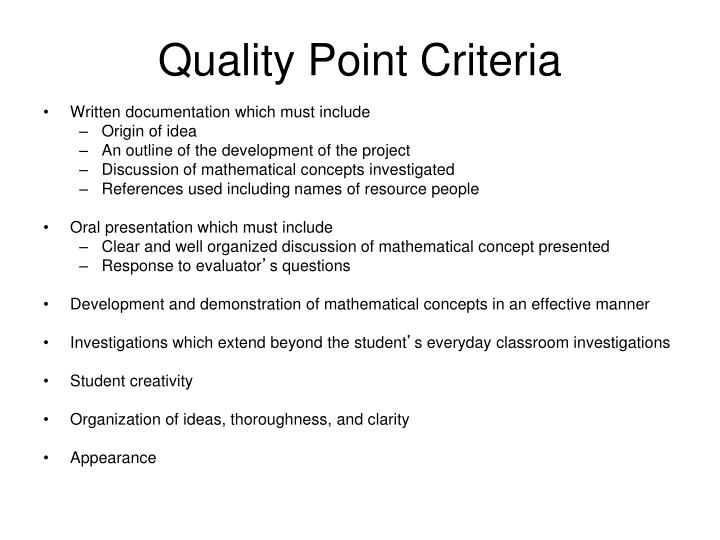 Quality Point Criteria