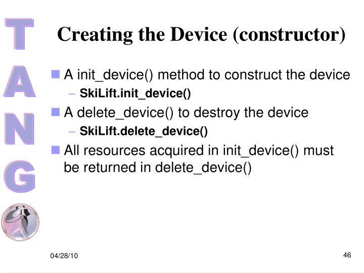 Creating the Device (constructor)