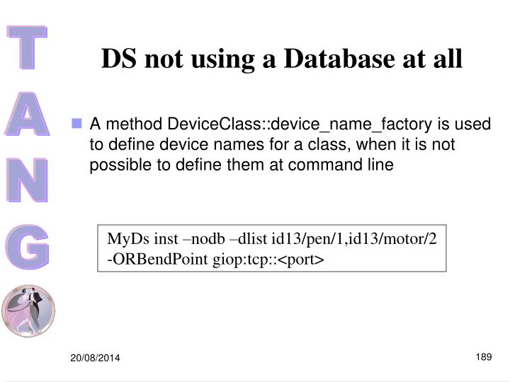 DS not using a Database at all