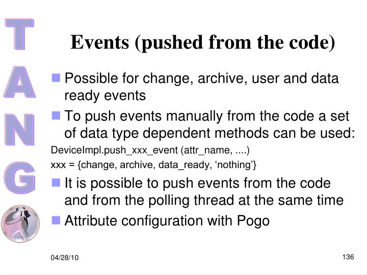 Events (pushed from the code)