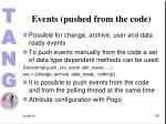 events pushed from the code