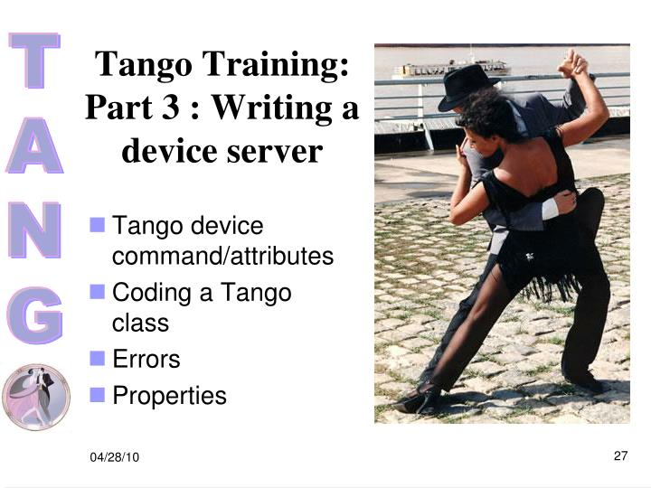Tango Training: Part 3 : Writing a device server