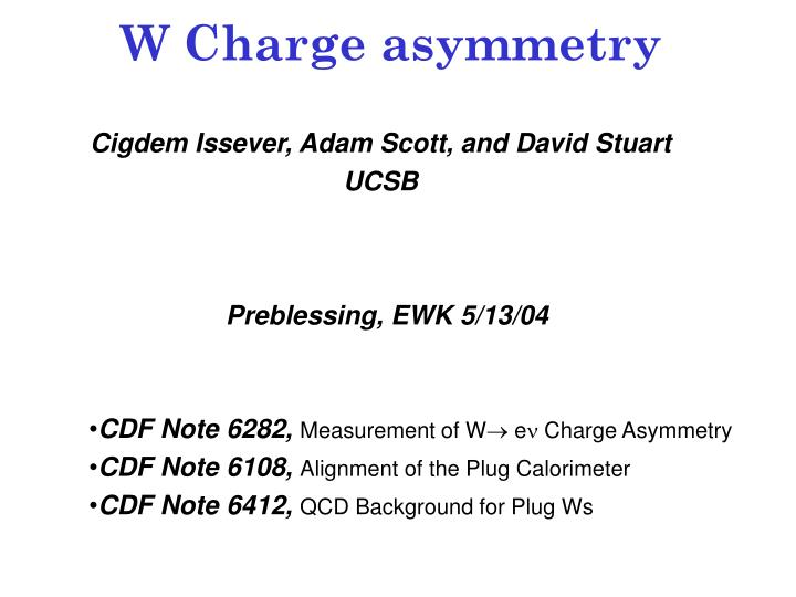 W Charge asymmetry