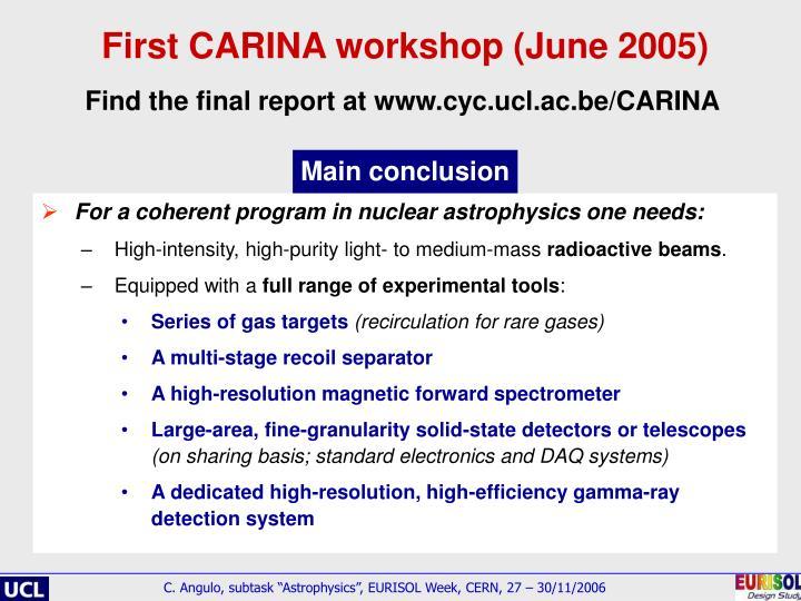 First CARINA workshop (June 2005)