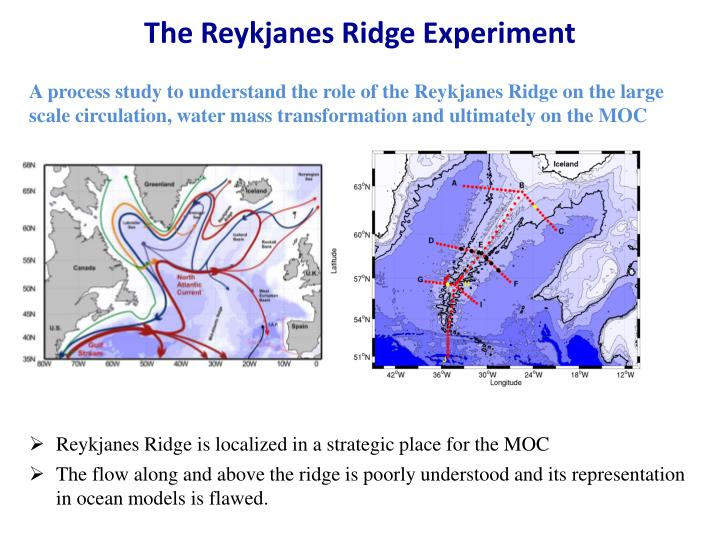 A process study to understand the role of the Reykjanes Ridge on the large scale circulation, water mass transformation and ultimately on the MOC
