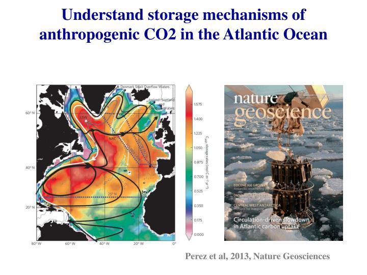 Understand storage mechanisms of anthropogenic CO2 in the Atlantic Ocean