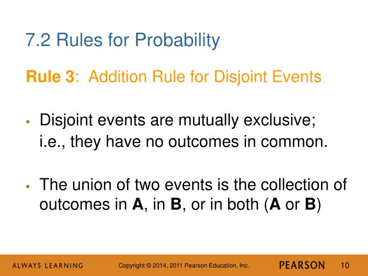 7.2 Rules for Probability