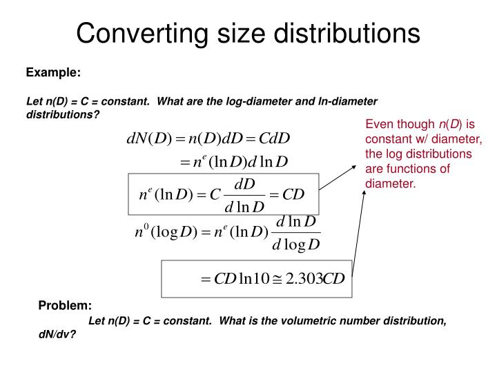 Converting size distributions