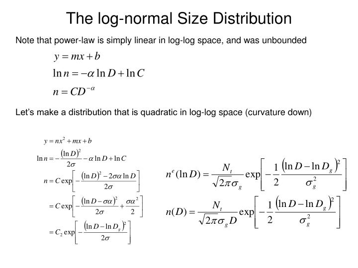 The log-normal Size Distribution
