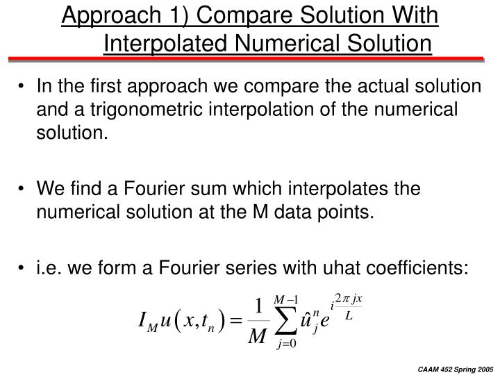 Approach 1) Compare Solution With