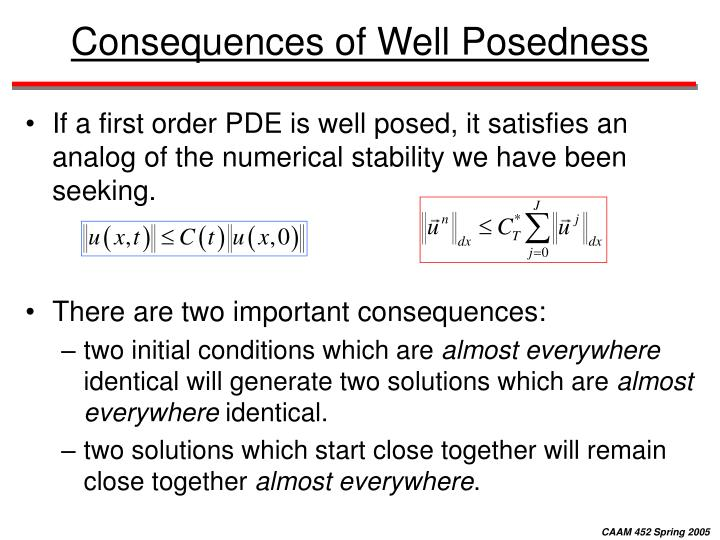 Consequences of Well Posedness