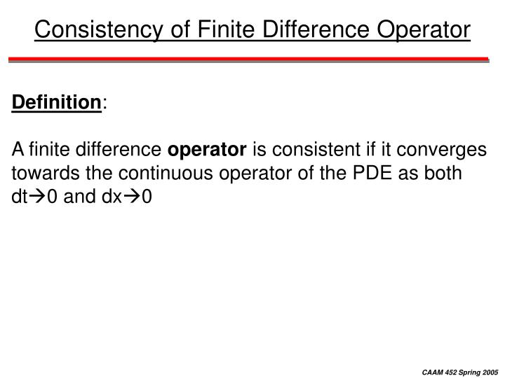 Consistency of Finite Difference Operator