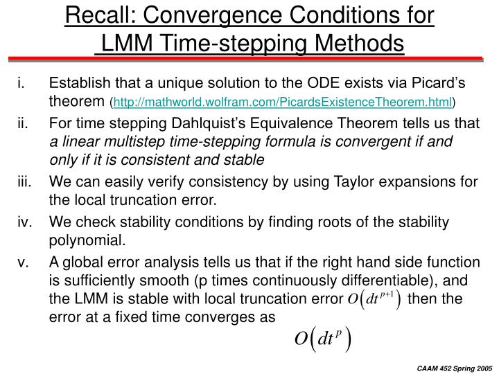 Recall: Convergence Conditions for