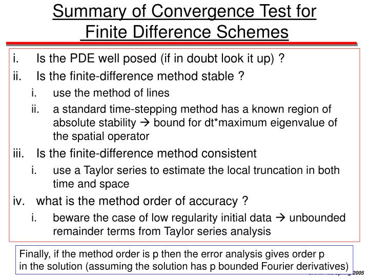 Summary of Convergence Test for