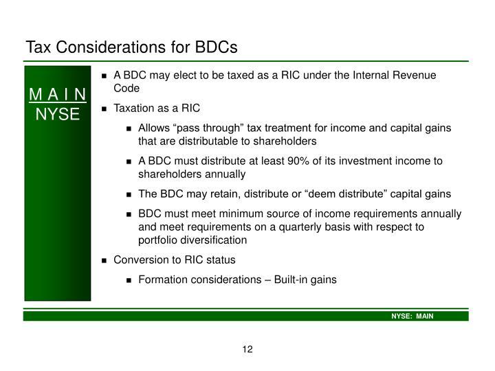 Tax Considerations for BDCs