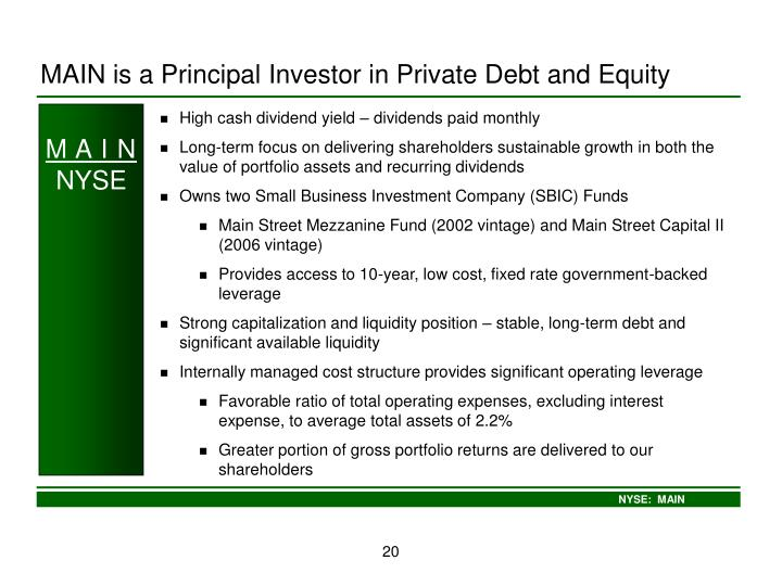 MAIN is a Principal Investor in Private Debt and Equity