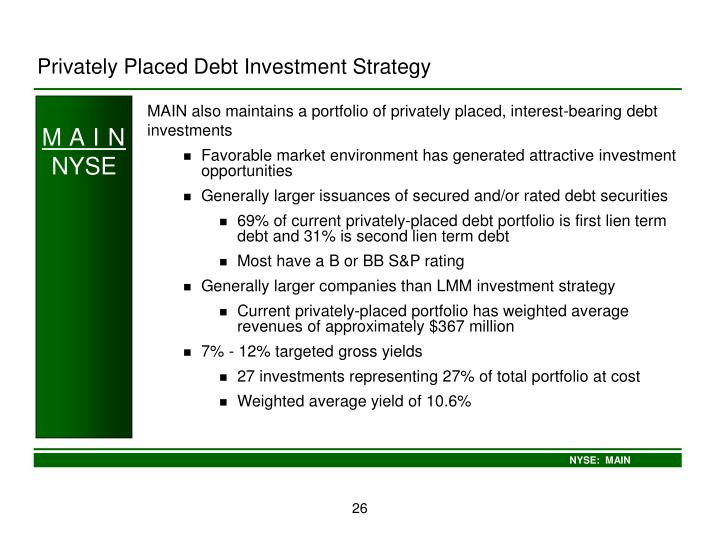 Privately Placed Debt Investment Strategy