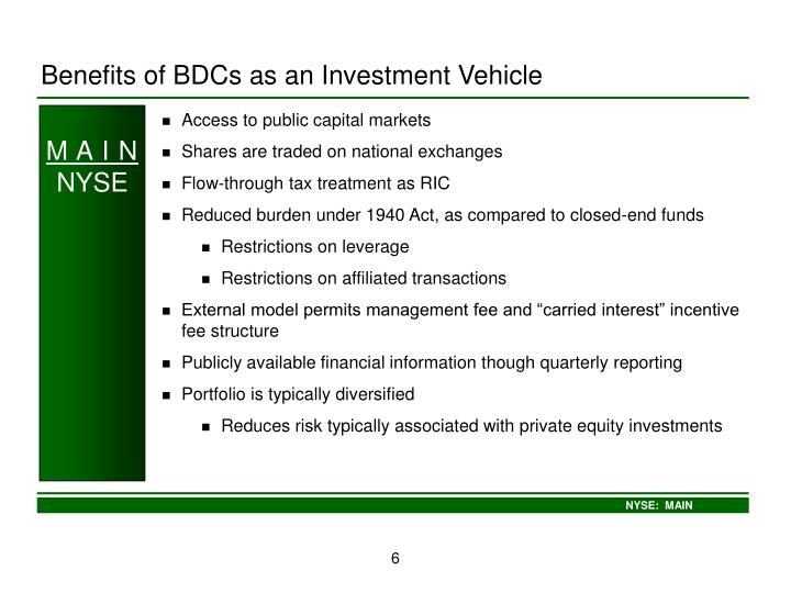 Benefits of BDCs as an Investment Vehicle