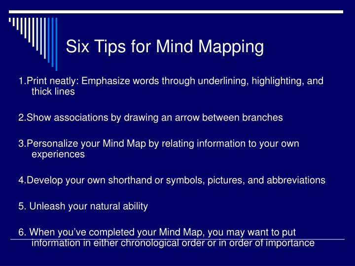 Six Tips for Mind Mapping