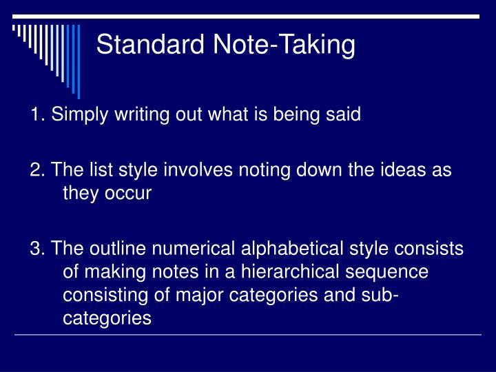 Standard Note-Taking