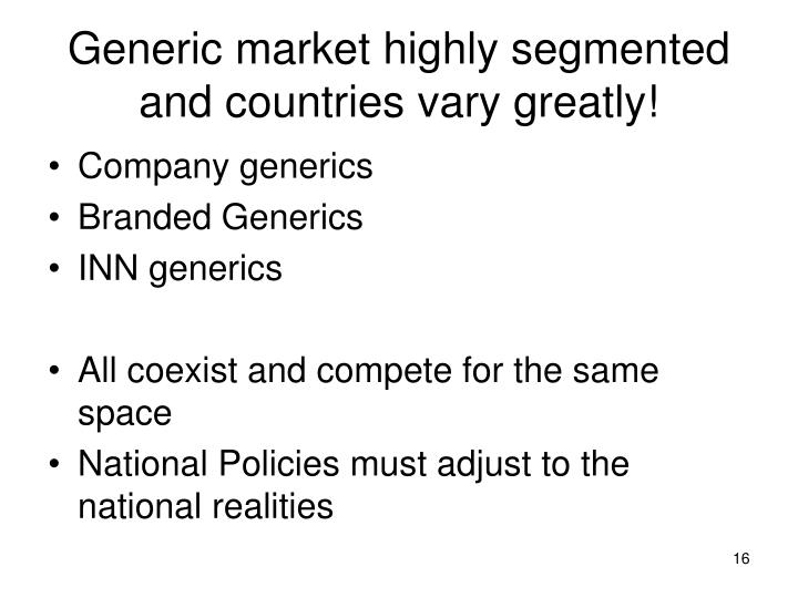 Generic market highly segmented and countries vary greatly!