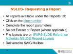 nslds requesting a report