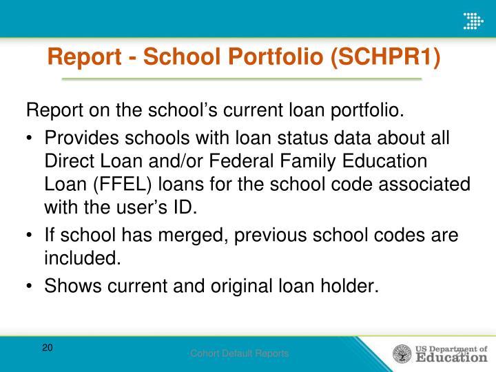 Report - School Portfolio (SCHPR1)