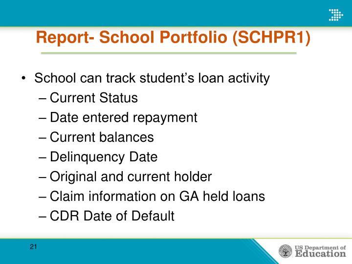 Report- School Portfolio (SCHPR1)