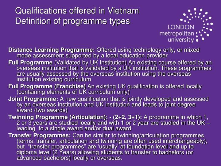 Qualifications offered in Vietnam