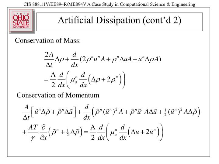 Artificial dissipation cont d 2