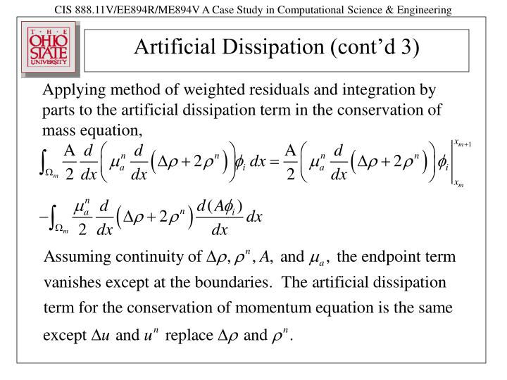 Artificial dissipation cont d 3