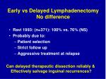 early vs delayed lymphadenectomy no difference