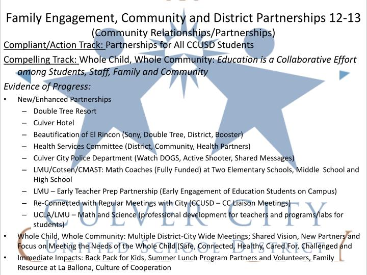 Family Engagement, Community and District Partnerships 12-13