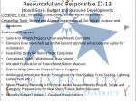 resourceful and responsible 12 13 board goals budget and resource development
