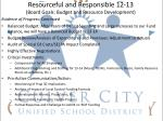 resourceful and responsible 12 13 board goals budget and resource development1