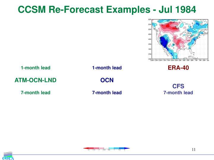 CCSM Re-Forecast Examples - Jul 1984