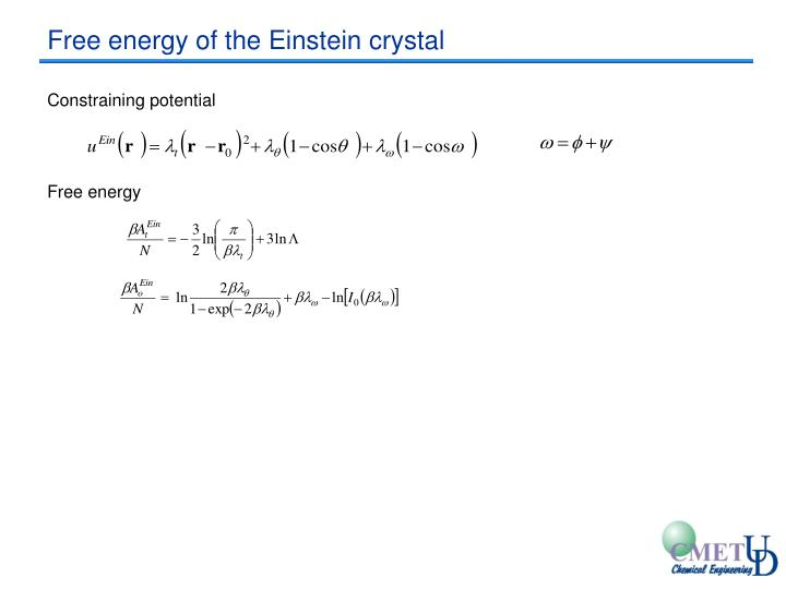 Free energy of the Einstein crystal
