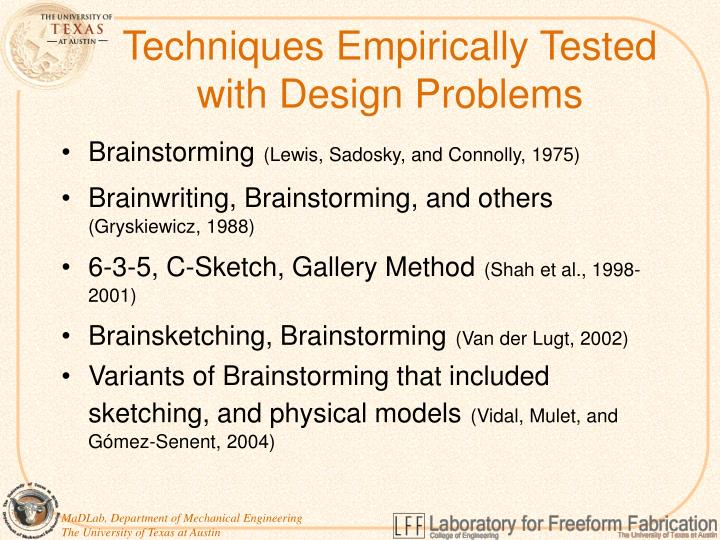 Techniques Empirically Tested
