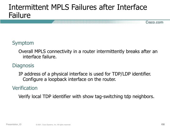 Intermittent MPLS Failures after Interface Failure