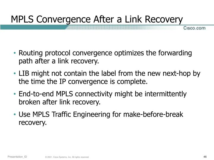 MPLS Convergence After a Link Recovery