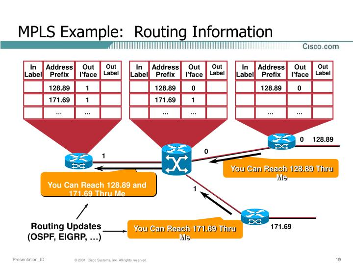 MPLS Example:  Routing Information