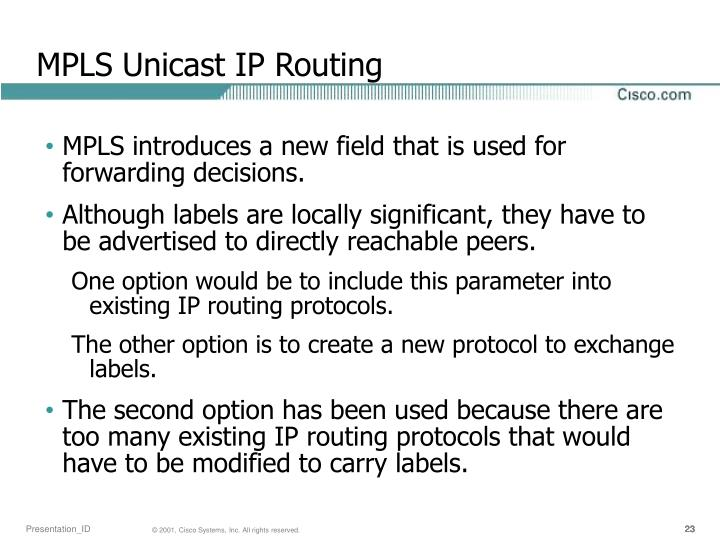 MPLS Unicast IP Routing