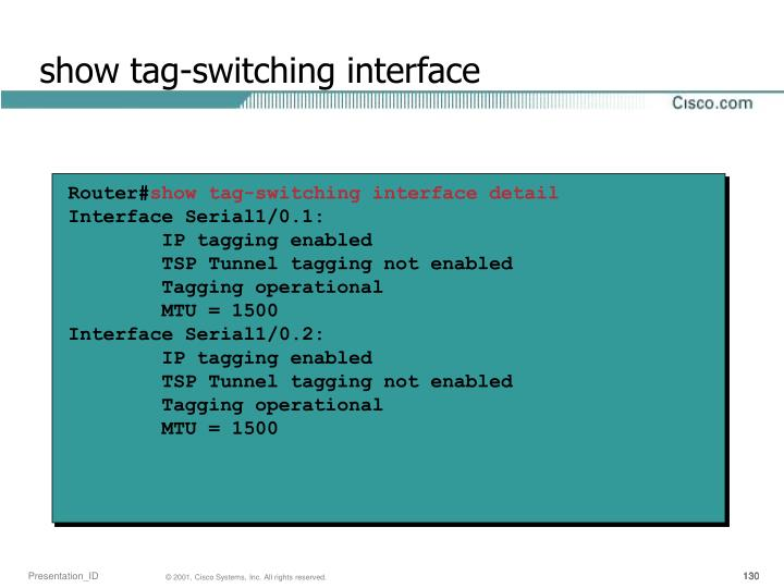 show tag-switching interface