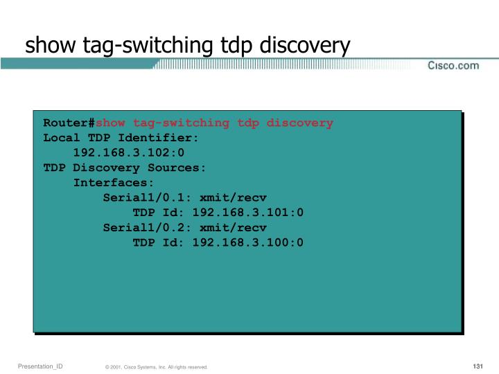 show tag-switching tdp discovery