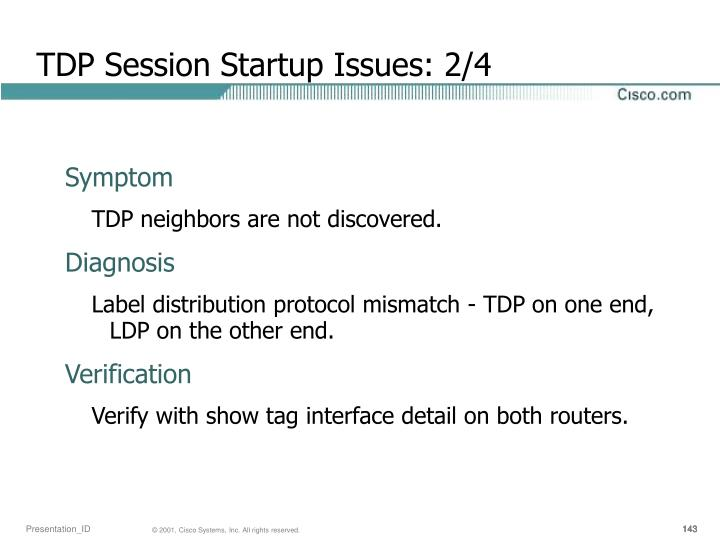 TDP Session Startup Issues: 2/4