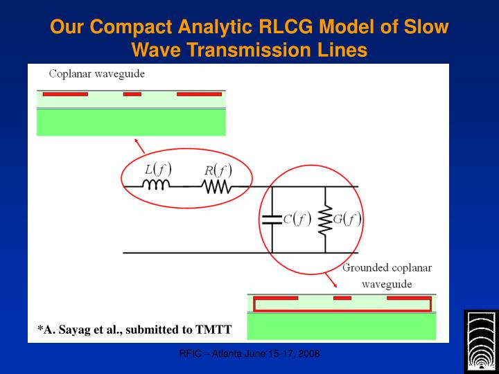 Our Compact Analytic RLCG Model of Slow Wave Transmission Lines