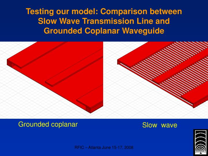 Testing our model: Comparison between Slow Wave Transmission Line and Grounded Coplanar Waveguide