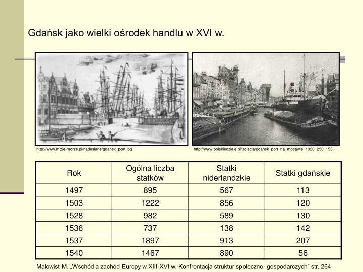 Gdańsk jako wielki ośrodek handlu w XVI w.